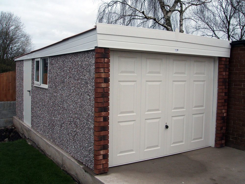 Superior Flat Roof Garage Pvc With Brick Front »