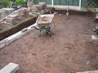Preparing ground for patio area